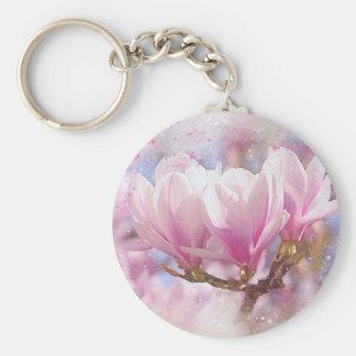 Blooming Pink Purple Magnolia - Spring Flower Keychain