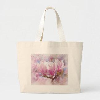 Blooming Pink Purple Magnolia - Spring Flower Large Tote Bag