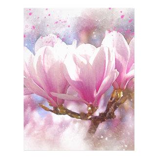 Blooming Pink Purple Magnolia - Spring Flower Letterhead