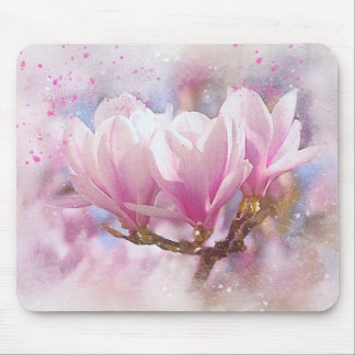 Blooming Pink Purple Magnolia - Spring Flower Mouse Pad