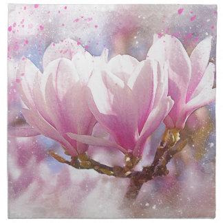 Blooming Pink Purple Magnolia - Spring Flower Napkin