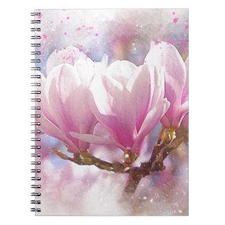 Blooming Pink Purple Magnolia - Spring Flower Notebook