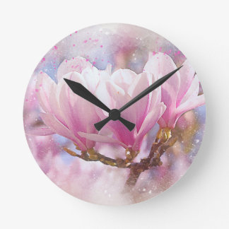 Blooming Pink Purple Magnolia - Spring Flower Round Clock