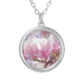 Blooming Pink Purple Magnolia - Spring Flower Silver Plated Necklace