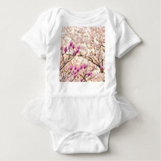 Blooming Pink Purple Magnolias Spring Flower Baby Bodysuit