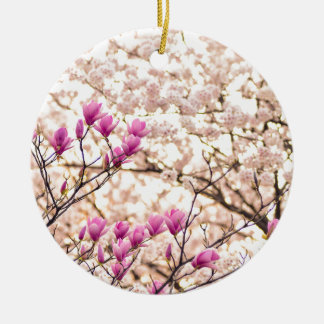 Blooming Pink Purple Magnolias Spring Flower Ceramic Ornament