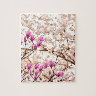 Blooming Pink Purple Magnolias Spring Flower Jigsaw Puzzle