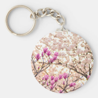 Blooming Pink Purple Magnolias Spring Flower Keychain