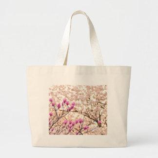 Blooming Pink Purple Magnolias Spring Flower Large Tote Bag