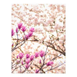 Blooming Pink Purple Magnolias Spring Flower Letterhead