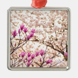 Blooming Pink Purple Magnolias Spring Flower Metal Ornament