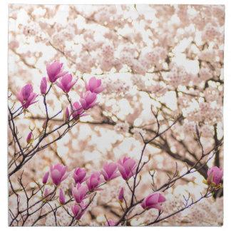 Blooming Pink Purple Magnolias Spring Flower Napkin
