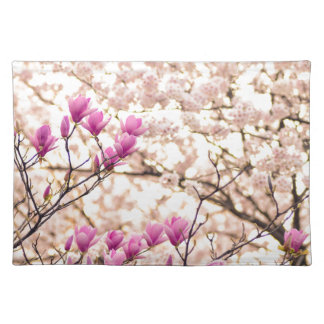 Blooming Pink Purple Magnolias Spring Flower Placemat