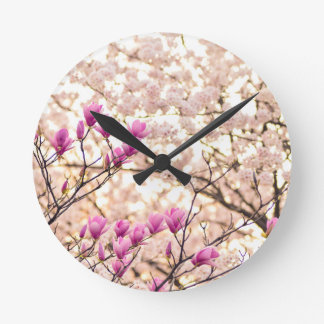 Blooming Pink Purple Magnolias Spring Flower Round Clock