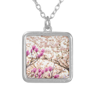Blooming Pink Purple Magnolias Spring Flower Silver Plated Necklace