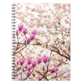 Blooming Pink Purple Magnolias Spring Flower Spiral Notebook