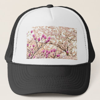 Blooming Pink Purple Magnolias Spring Flower Trucker Hat