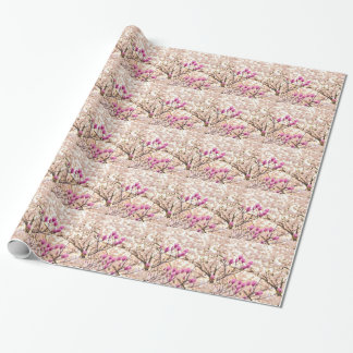 Blooming Pink Purple Magnolias Spring Flower Wrapping Paper