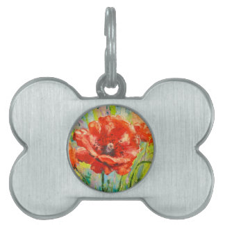Blooming poppies pet tag