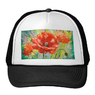 Blooming poppies trucker hat