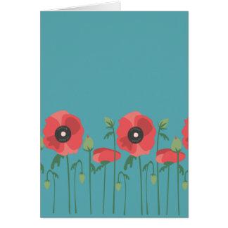 Blooming Poppy Field Print Card