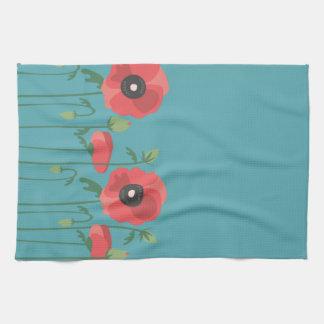 Blooming Poppy Field Print Kitchen Towel