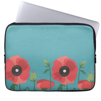 Blooming Poppy Field Print Laptop Sleeve