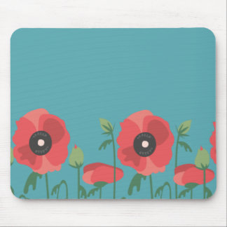 Blooming Poppy Field Print Mouse Pad