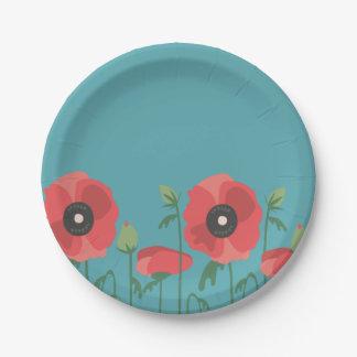 Blooming Poppy Field Print Paper Plate
