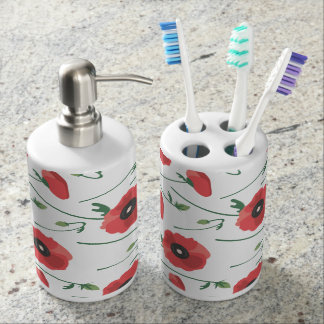 Blooming Poppy Field Print Soap Dispenser And Toothbrush Holder