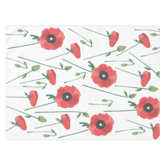 Blooming Poppy Field Print Tablecloth