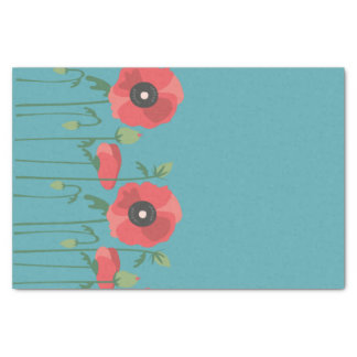 Blooming Poppy Field Print Tissue Paper