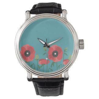 Blooming Poppy Field Print Wrist Watch