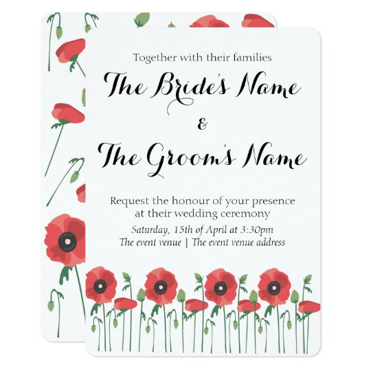 Blooming Poppy Field Wedding Invitation