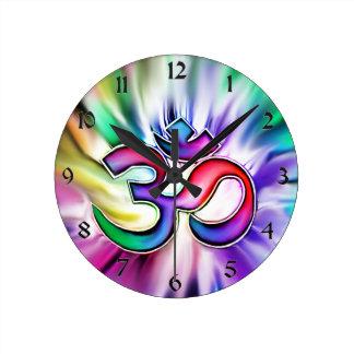 Blooming Rainbow Lotus OM Clock