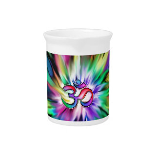 Blooming Rainbow Lotus OM Drink Pitcher