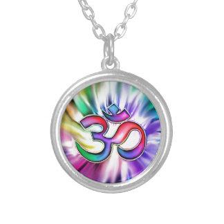 Blooming Rainbow Lotus OM Round Pendant Necklace