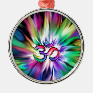 Blooming Rainbow Lotus OM Silver-Colored Round Ornament