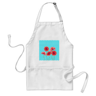 Blooming red poppies blue chevron pattern aprons