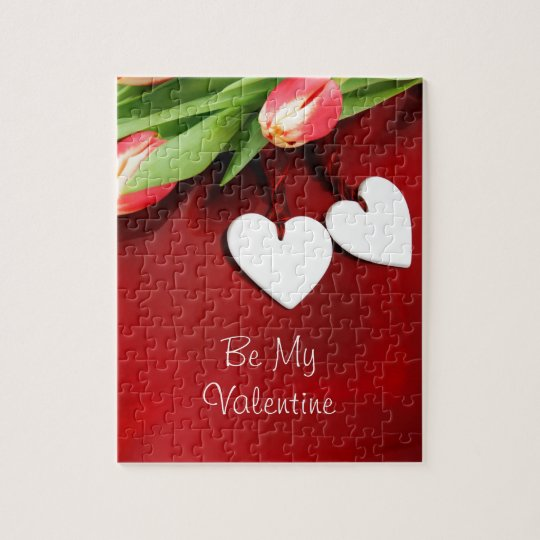 Blooming Romance Romantic Floral Hearts Jigsaw Puzzle