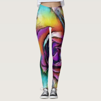 Blooming Rose Aquarelle Leggings