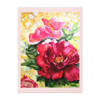 Blooming Rose Watercolor Canvas Print