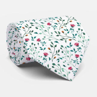 Blooming Rose Watercolor Pattern Tie