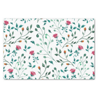 Blooming Rose Watercolor Pattern Tissue Paper