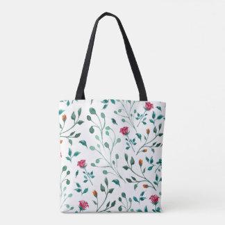 Blooming Rose Watercolor Pattern Tote Bag