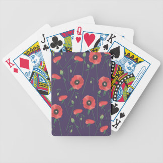 Blooming Springtime Poppies Purple Bicycle Playing Cards