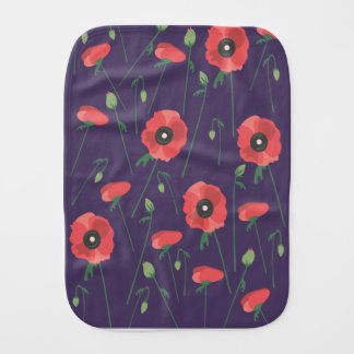 Blooming Springtime Poppies Purple Burp Cloth