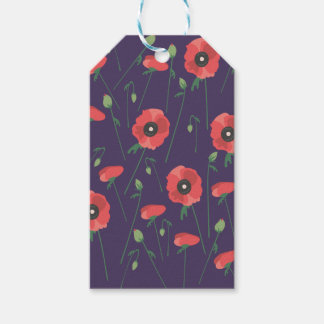 Blooming Springtime Poppies Purple Gift Tags