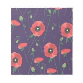 Blooming Springtime Poppies Purple Notepad