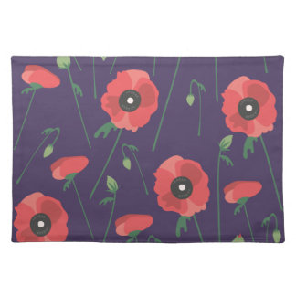 Blooming Springtime Poppies Purple Placemat